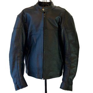 Mens Black Armored Leather Motorcycle Jacket